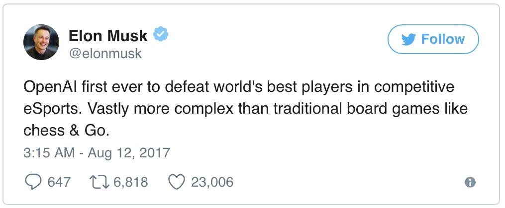 Искусственный интеллект Илона Маска победил одного из лучших игроков Dota 2