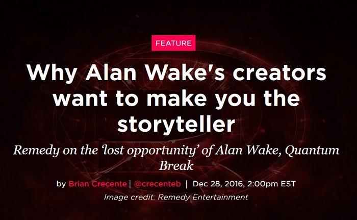 Remedy подтвердила, что создает не Alan Wake 2 и не Quantum Break 2
