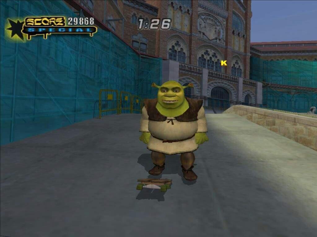 Напоминаю — в Underground 2 один из секретных скейтеров — Шрек.