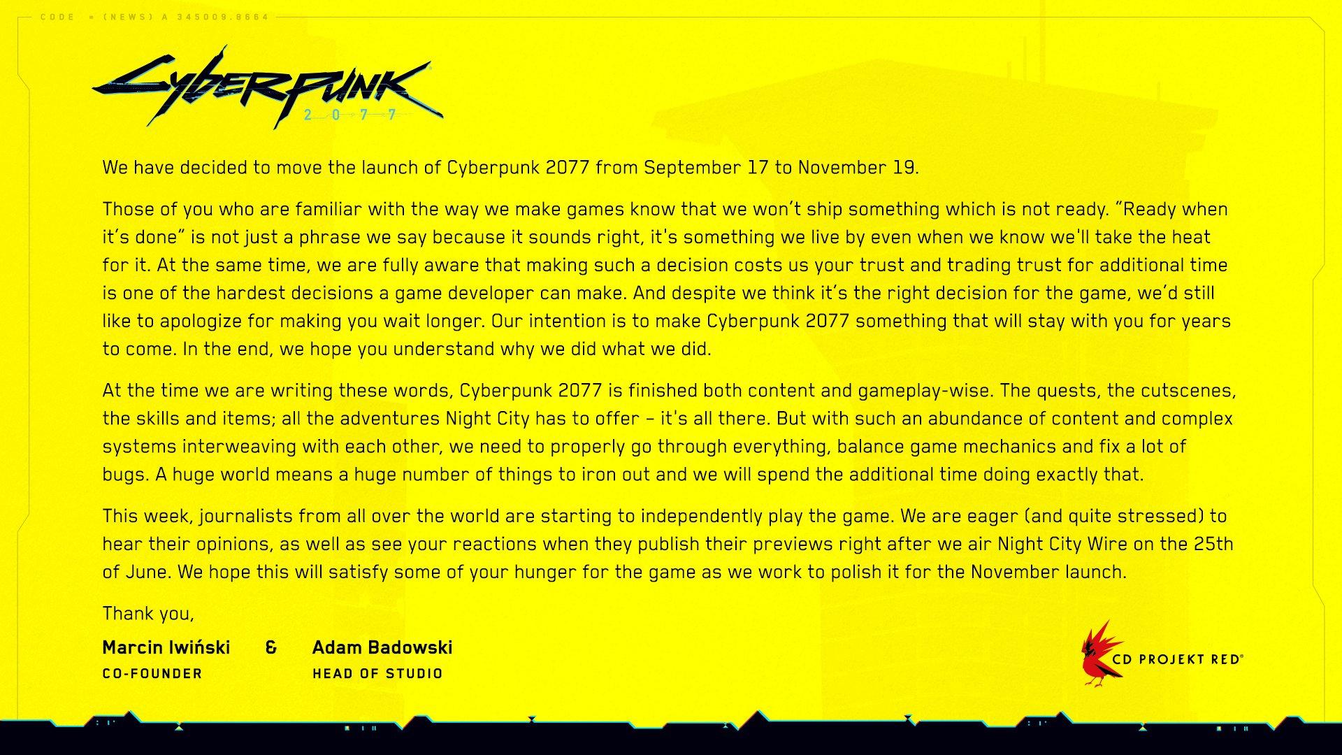Релиз Cyberpunk 2077 опять перенесли